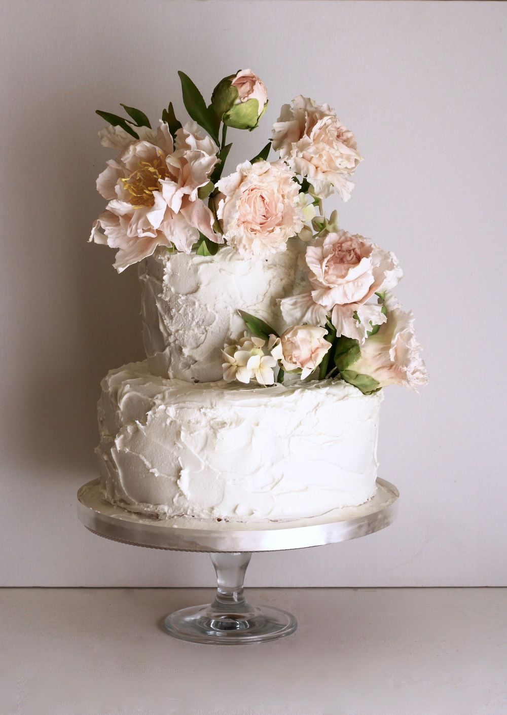 blush peonies wedding cake by jaime gerard cake