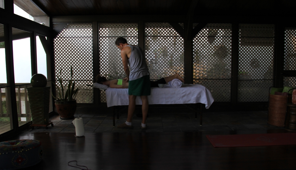 Enjoy a professional massage a dozen yards from the rainforest, serenaded by of our favorite rainforest amphibian, the song-singing coqui.