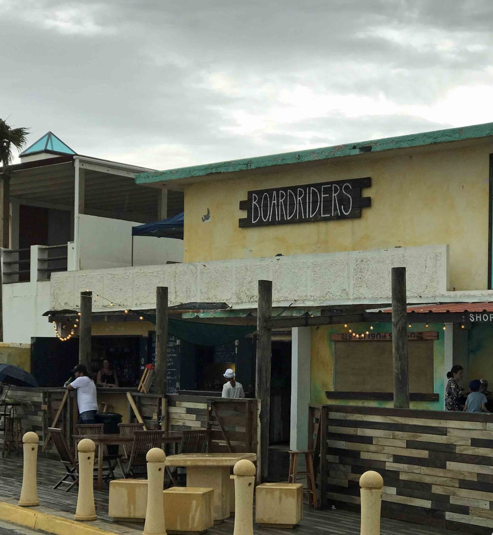 Boardriders is a famous surf bar in Luquillo right on the beach. They serve the best mahi-mahi fish tacos and bushwhackers. They, like many other great local places to eat, are open for business after Maria.
