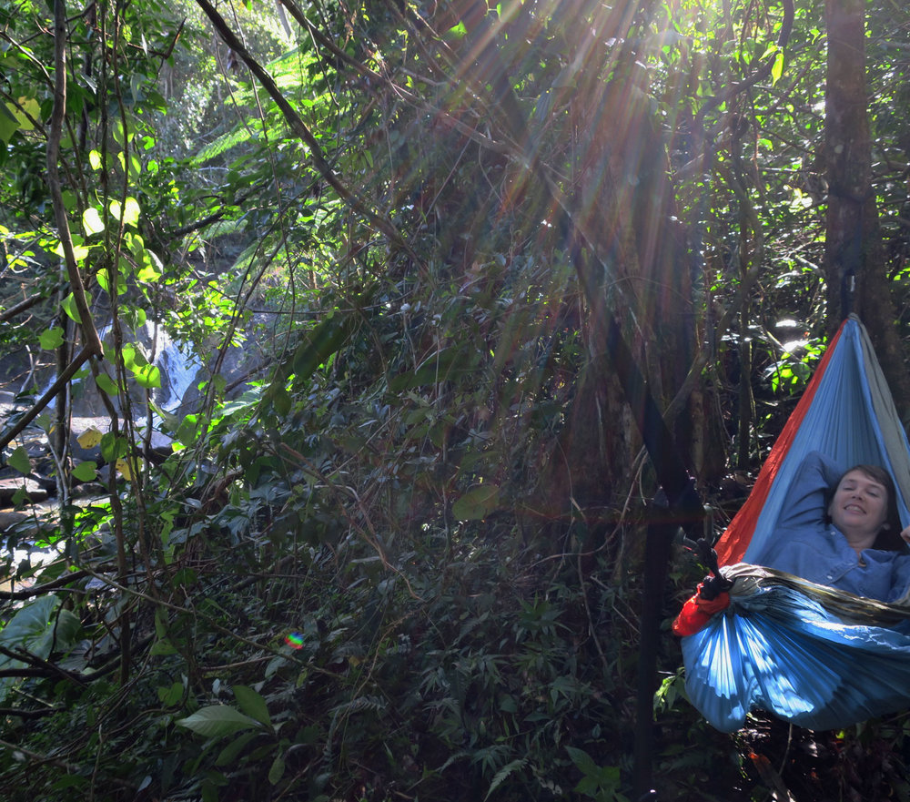 "Nothing is more peaceful than relaxing in a hammock under the jungle canopy by one of the waterfalls on the ""Lost Machete"" trail."