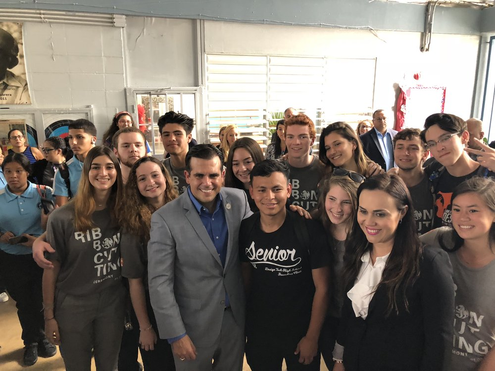 At FMC school with Back row, left to right: Kirby Kromelow, Malakhi Martinez, Anya Karanov, Ross Fulkerson, Tatiana Fakoukaki, Matthew Silverman, Tyler McMahon; Front row, left to right: Georgina Fakoukaki, Daphne Palmeter, Ricardo Rosselló (Governor of Puerto Rico), Jose Obregon, Ally Shirman, Maria McAlister-Young