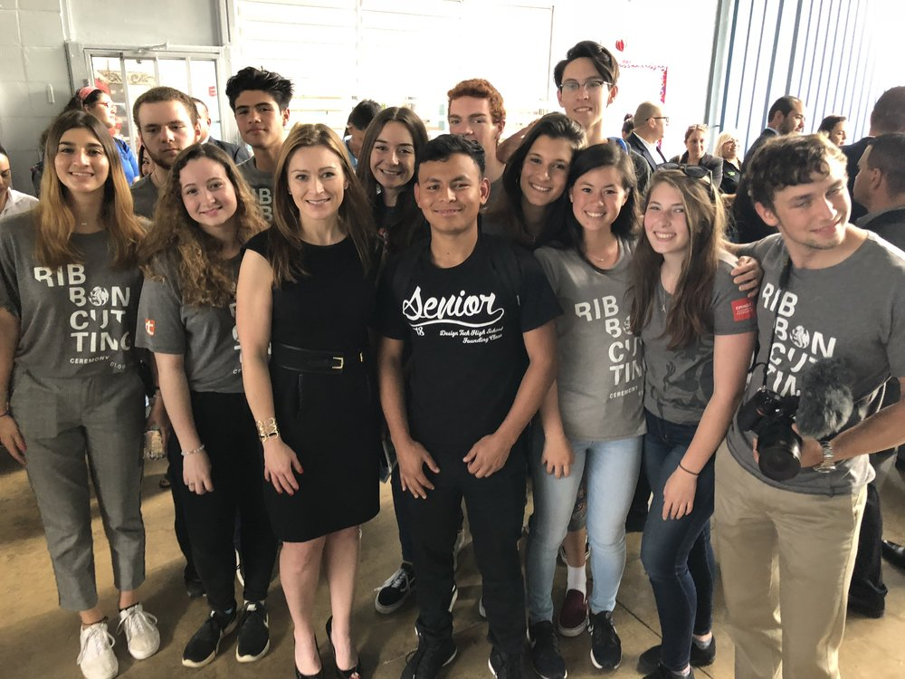 Back row, left to right: Kirby Kromelow, Malakhi Martinez, Anya Karanov, Ross Fulkerson, Tatiana Fakoukaki, Tyler McMahon; Front row, left to right: Georgina Fakoukaki, Daphne Palmeter, Julia Keleher (Secretary of Education of Puerto Rico), Jose Obregon, Maria McAlister-Young, Ally Shirman, Matthew Silverman