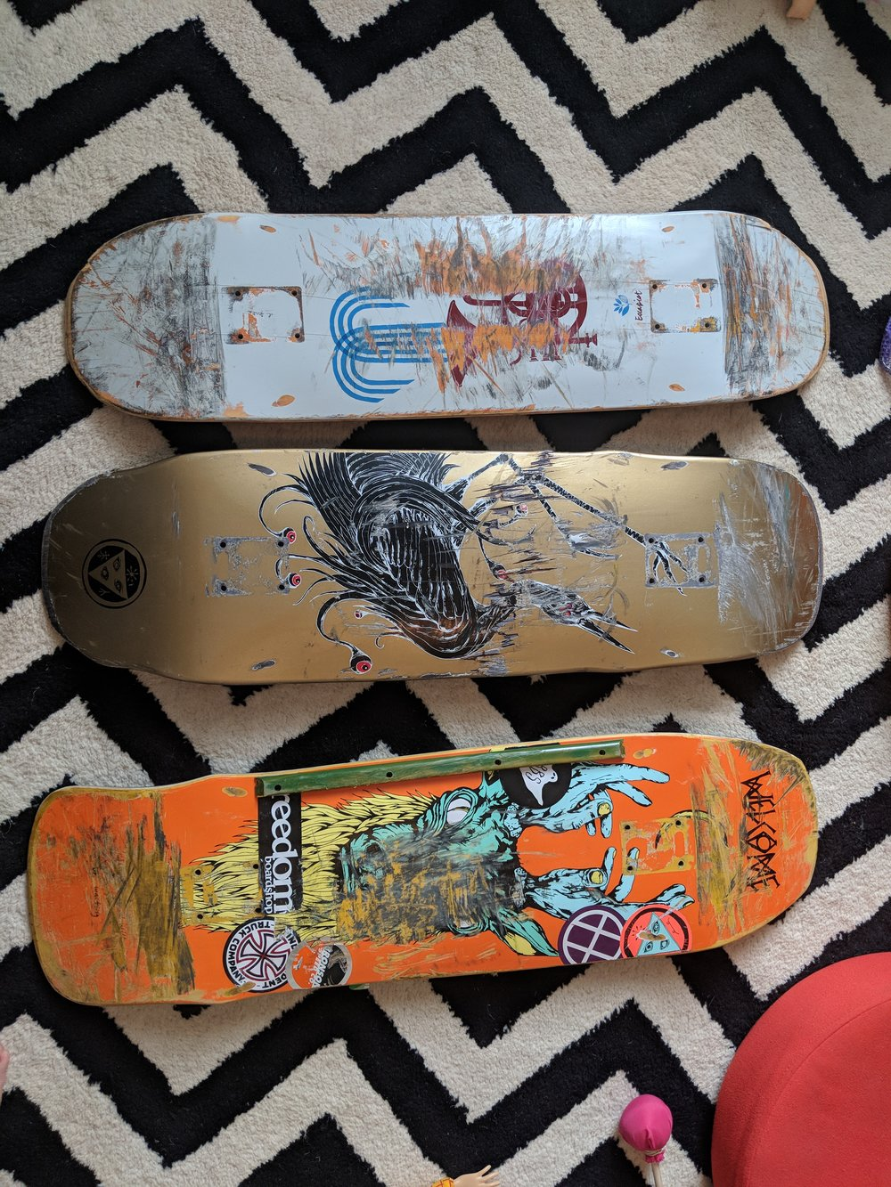 The 3 random skateboards I was sent.