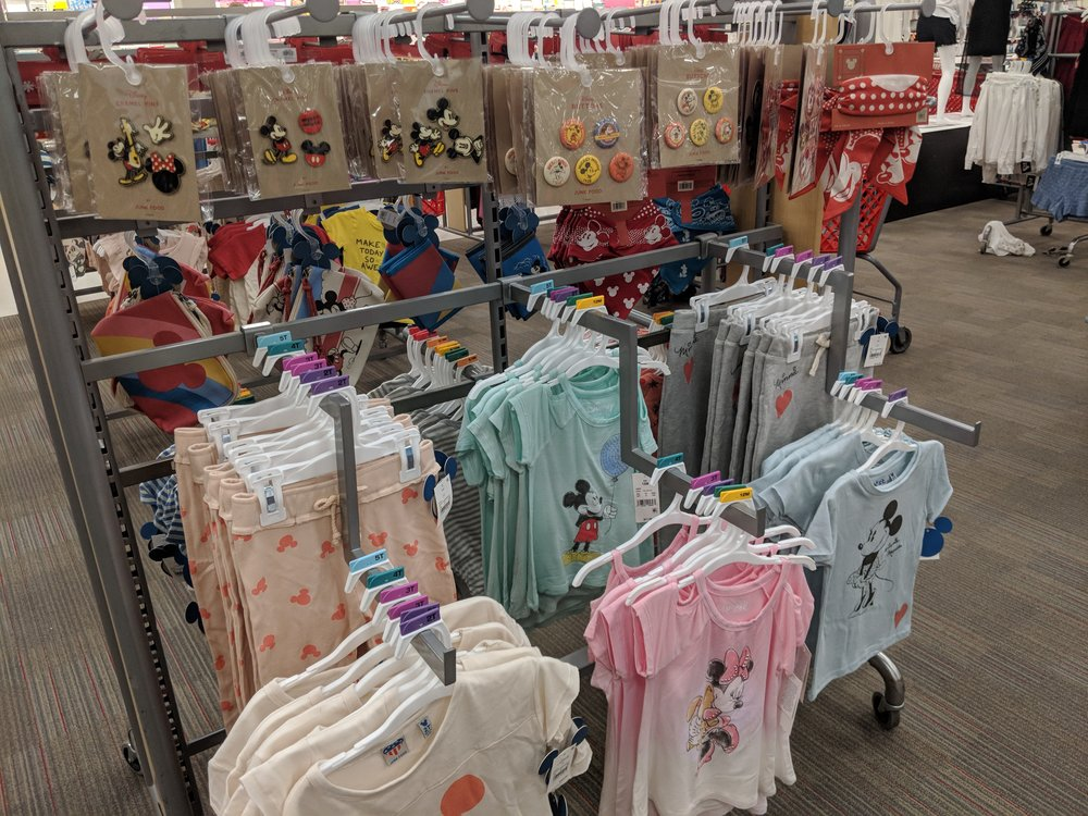 Pins and patches and clothing in the children's section.