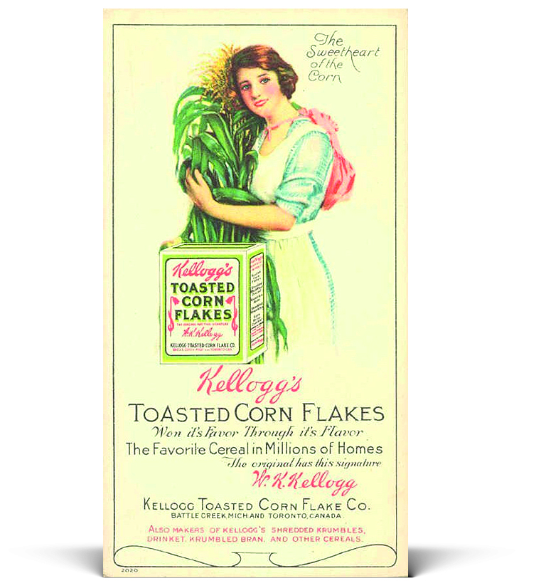 """CORNFLAKES OG FOLKEHELSE:  """"Toasted Corn Flakes"""" ble oppfunnet som en del av dietten ved Kelloggs sanatorie i Battle Creek, like ved Chicago."""