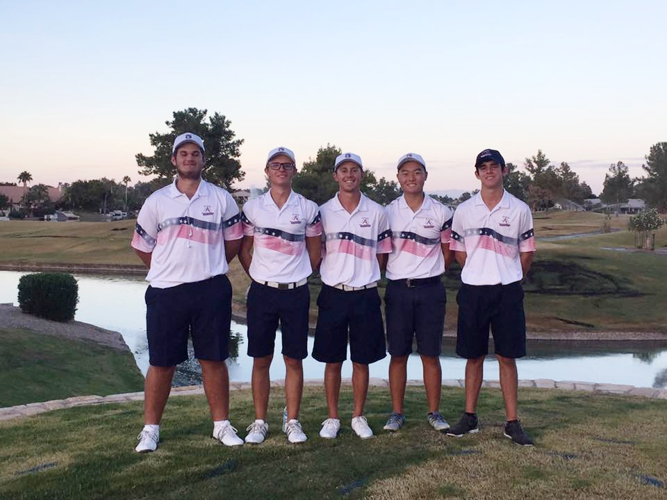 The Huskies finished its regular season match schedule today with a victory over Perry and Queen Creek at Ocotillo GC.  Junior Alexander Yu tied a school record for low 9-hole scoring with an impressive 31 (-4) to lead the team.