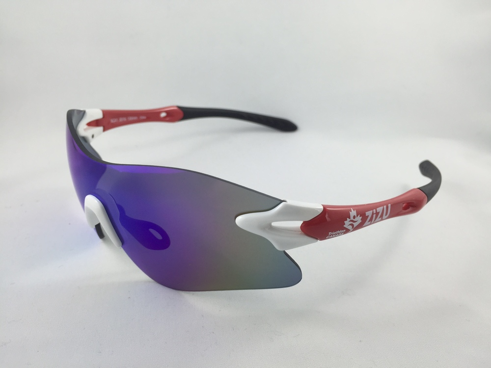 SCX1 White Red- Blue Revo Lens Category 3.     $89 plus tax   Frame width 130mm