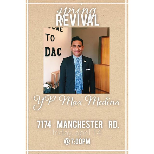 Get ready for day 3 of #springrevival17  Our very own YP will be preaching tonight!! Join us at 7pm tonight.  7174 Manchester rd. Maplewood, MO 63143 . . #newdestinyapostolicchurch #maplewoodmo #springrevival17 #kingdombuilding