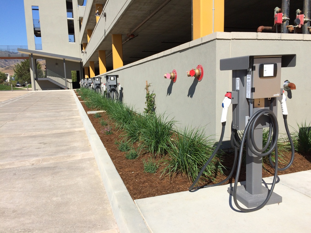 MindBody's new San Luis Obispo Headquarters includes electric vehicle charging stations to charge more than a dozen vehicles.
