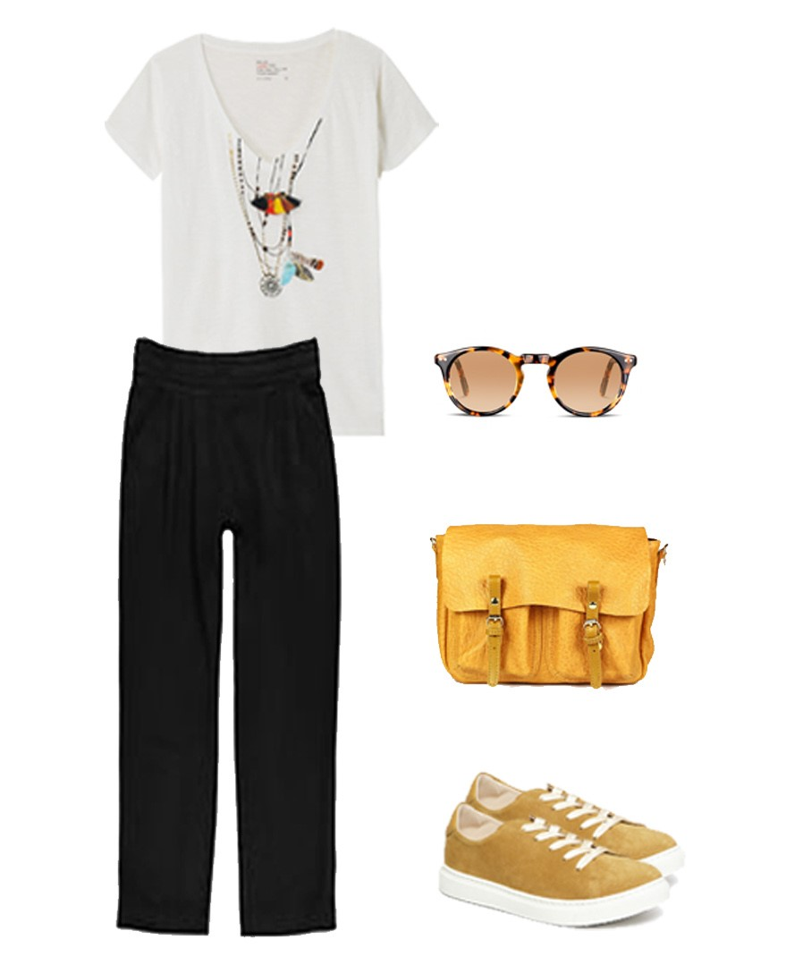 Pantalon Loreak Mendian, Tee-shirt Leon & Harper, Baskets Craie, Sac Craie