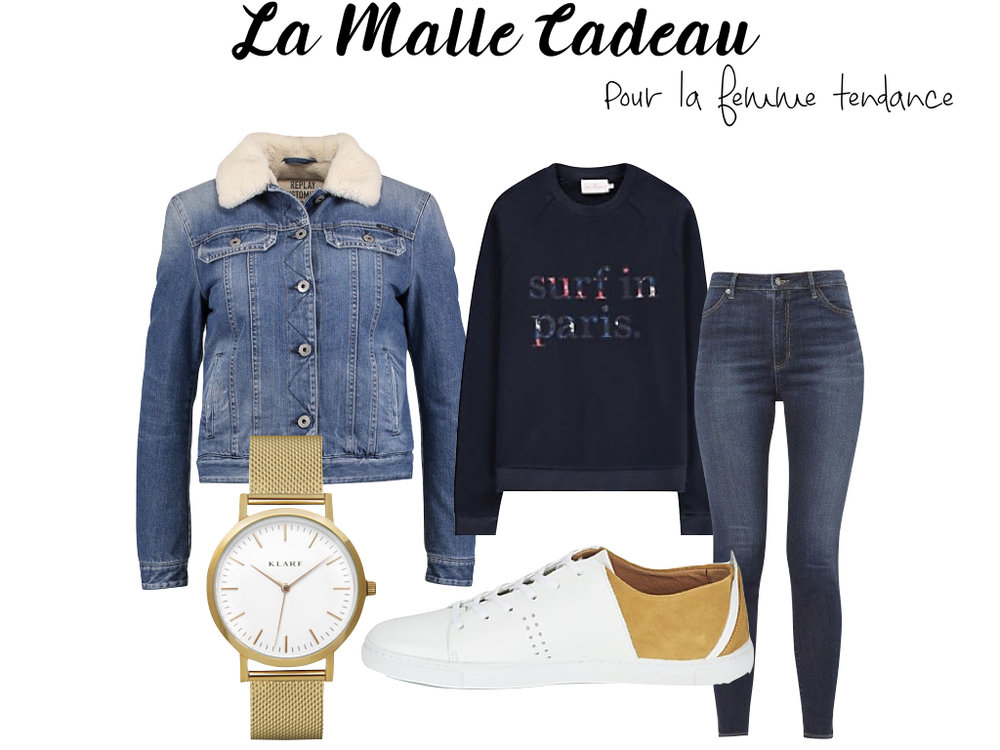 Veste Replay, montre Klarf, baskets Monsieur Moustache, jean Lee, sweat Cuisse de Grenouille