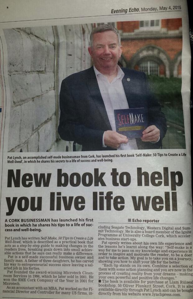 Pat is delighted to be in tonight's   Evening Echo   for the launch of his first book 'Self-Make'   #selfmake