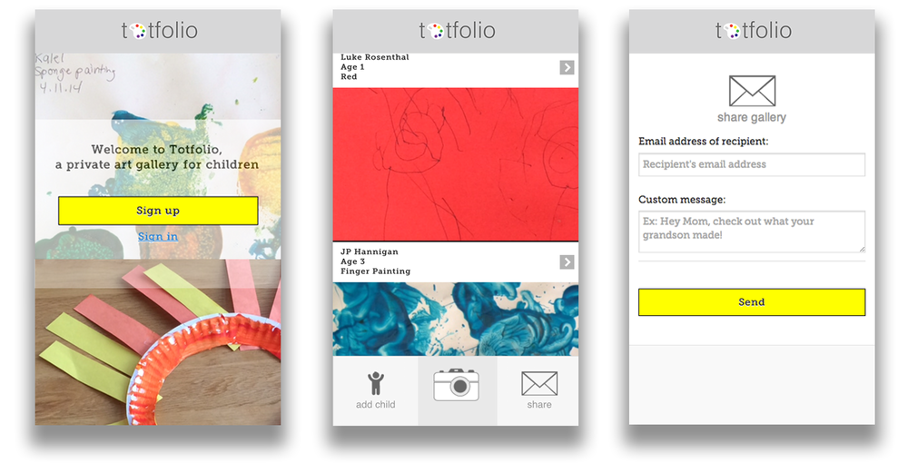 Totfolio key screens