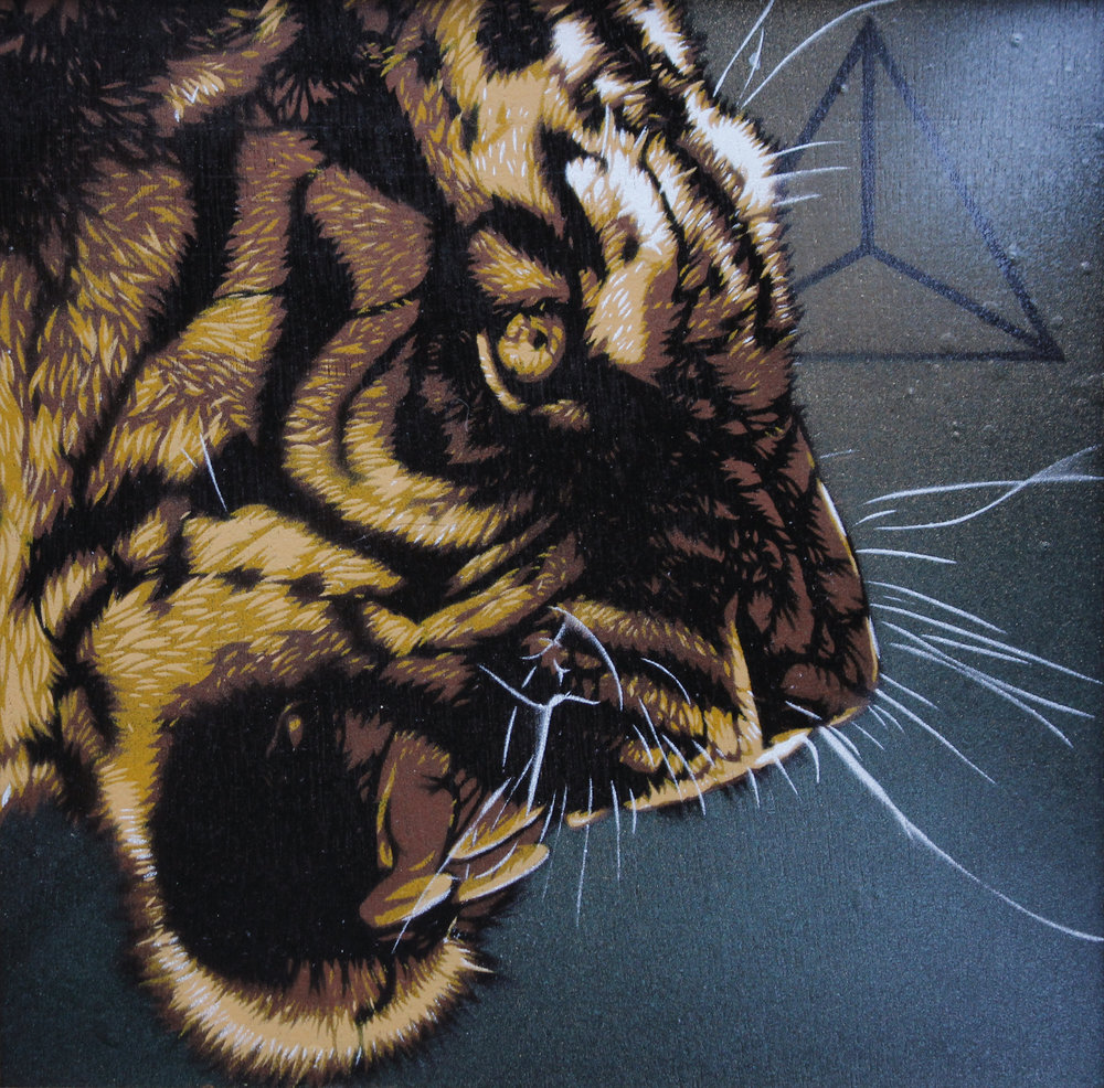 "Shere Khan    $175  11"" x 11"" Framed/Spray Paint"