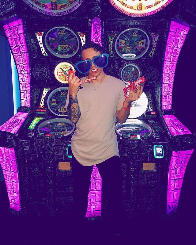 strapped up at dave & busters. u don't want this problem. #ballin #bigtickets