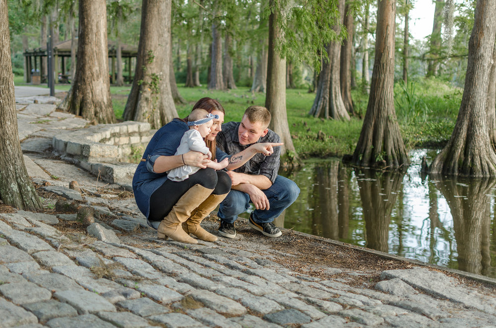 family sessions by a lake Wilmington, NC