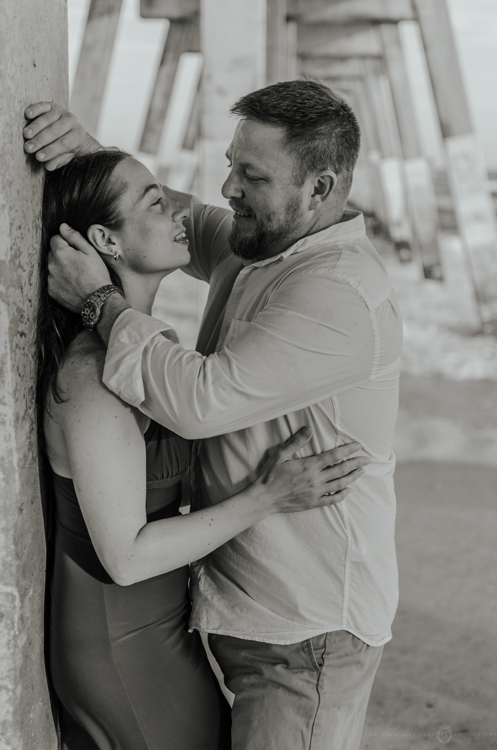 wrightsville beach couples session under the pier nc