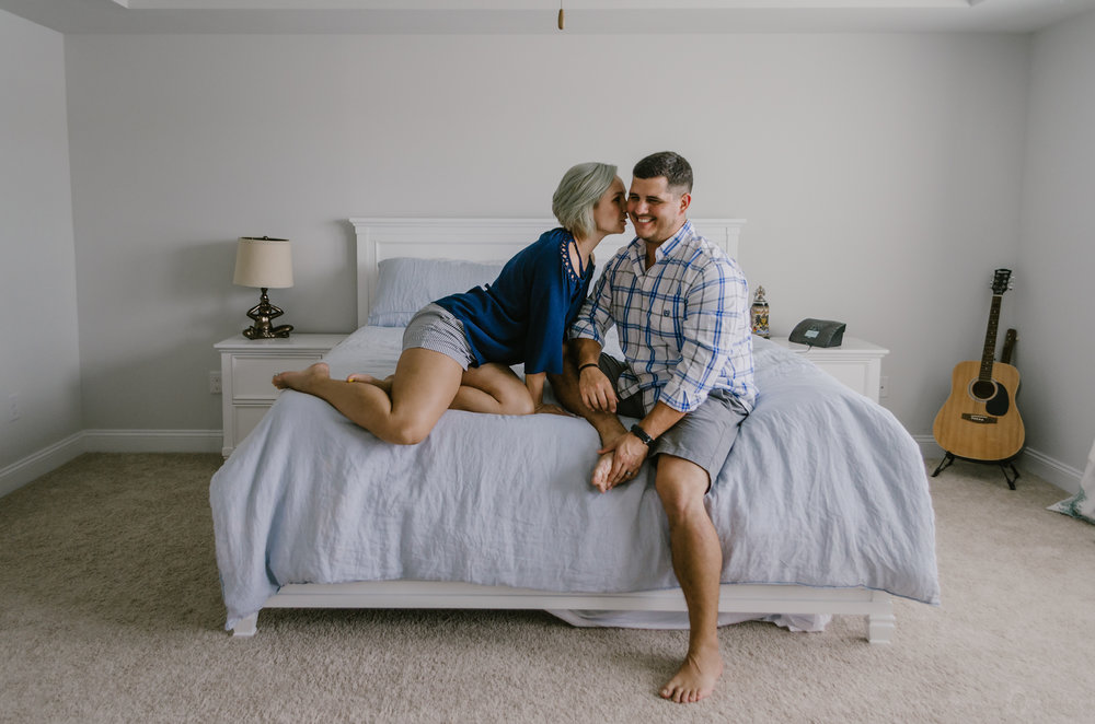 intimate in home couples portrait session wilmington nc