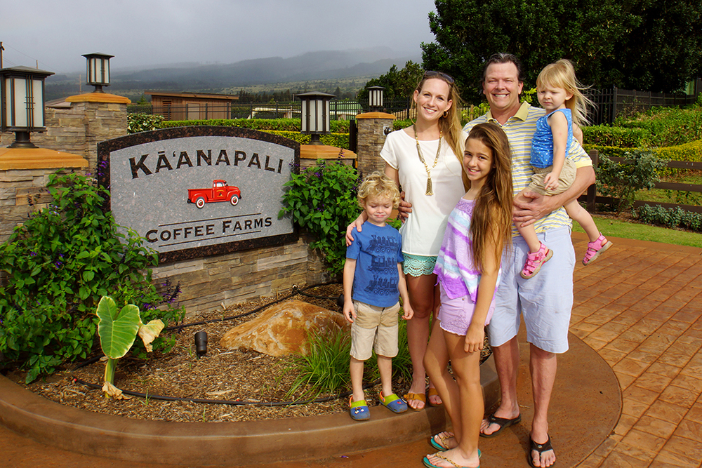 The McCarney family at Ka'anapali Coffee Farms.