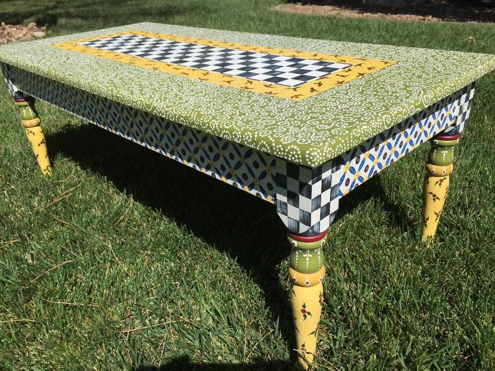 Delightful Hand Painted Coffee Table Or Bench