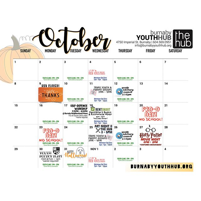 Check out what's going on at the Hub in October! 🍁🎃👻