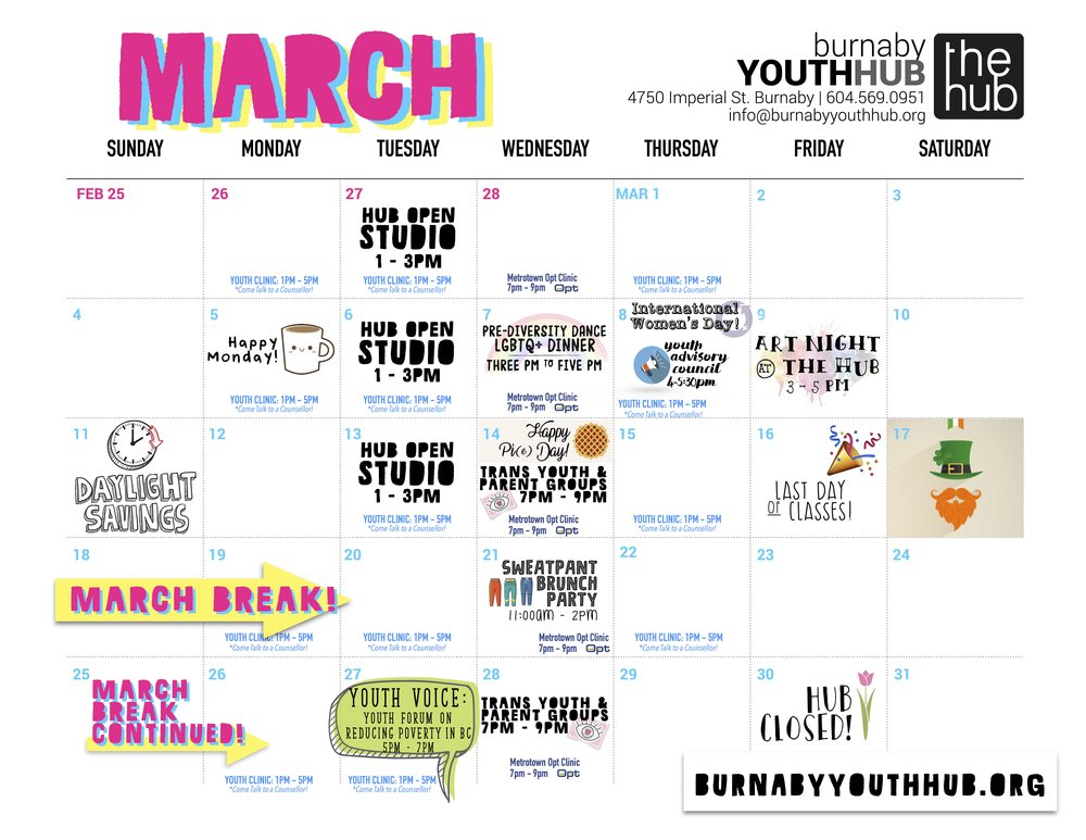 Burnaby Youth Hub - March 2018 Calendar.jpg