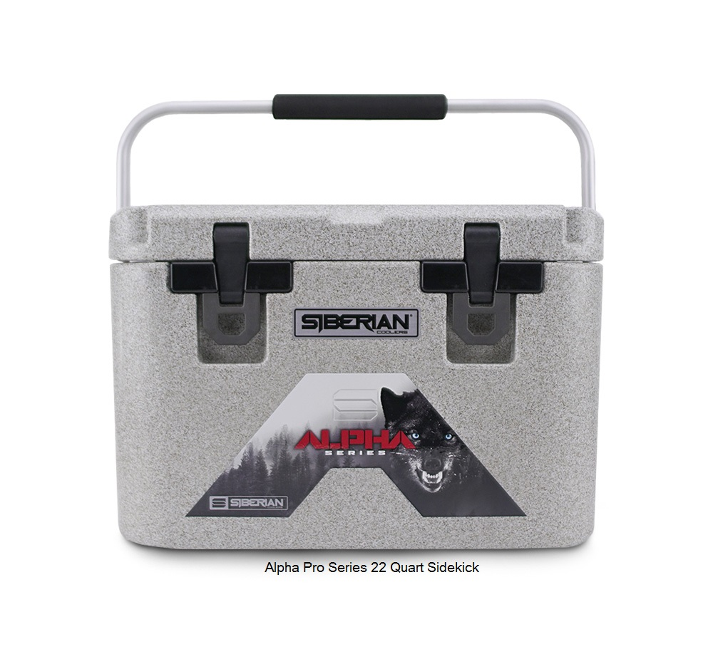 Alpha Pro Series 22 quart Cooler in granite color with carrying handle