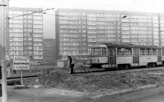 Leipzig Grünau tram station. In the mid 80s, when the quarter was built most people switched their rubber boots with street shoes on the tram stations. The entire quarter was muddy for years.