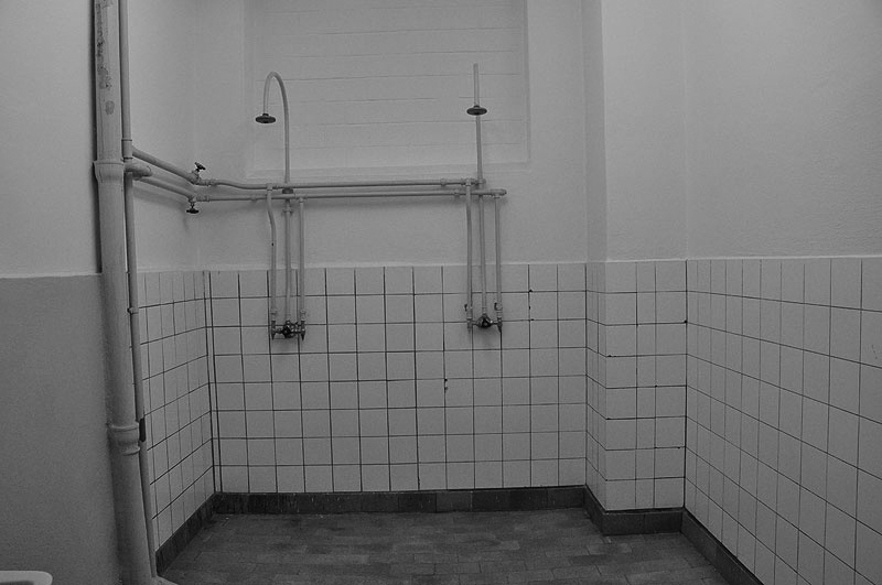 Shower cell inside the Stasi pre-trial prison.
