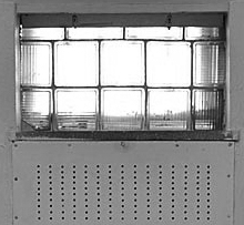 Glass block window in East German Stasi cell, pre-trial prison.