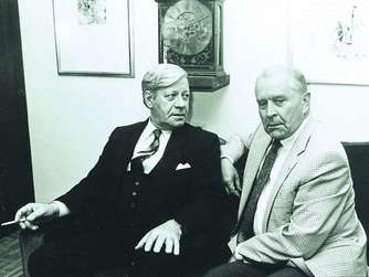Bundeskanzler Helmut Schmidt negotiating with Wolfgang Vogel, one of my lawyers, about political prisoners trades and spies exchange.