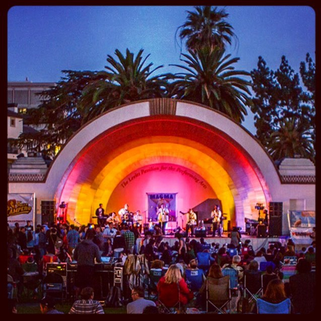 The Levitt Pavilion bandshell is located in Memorial Park in Old Pasadena:  85 E. Holly St. Pasadena, CA 91103.