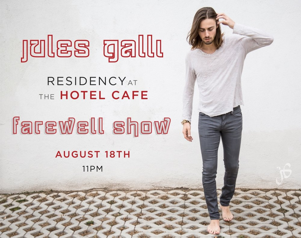 New and final Hotel Cafe date added!  - I am so grateful to the Hotel Cafe for hosting the past four shows of my residency, and especially for inviting me to add a fifth and final show to the original concert series! I loved spending the past summer singing my heart out at the Hotel Cafe surrounded by some of my closest friends and fellow musicians. Thank you, so much, to everyone who came and contributed their amazing talent, time, and effort to being a part of these shows and to support us as we performed! Alas, even the best things must come to an end. Don't miss the VERY special guests and surprises that we have in store as we plan to finish this concert series with a huge bang! 21+ and $10 at the door or get your tickets online here: https://www.hotelcafe.com/tickets/?s=events_view&id=6702