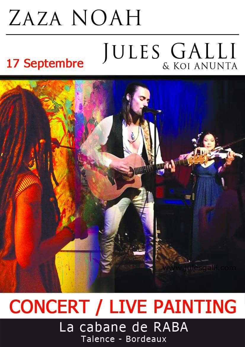 Bordeaux show announced! - So very excited to have the pleasure of performing in concert in conjunction with a live painting event by the noted artist, Zaza Noel, at the beautiful Cabane De Raba in Bordeaux!