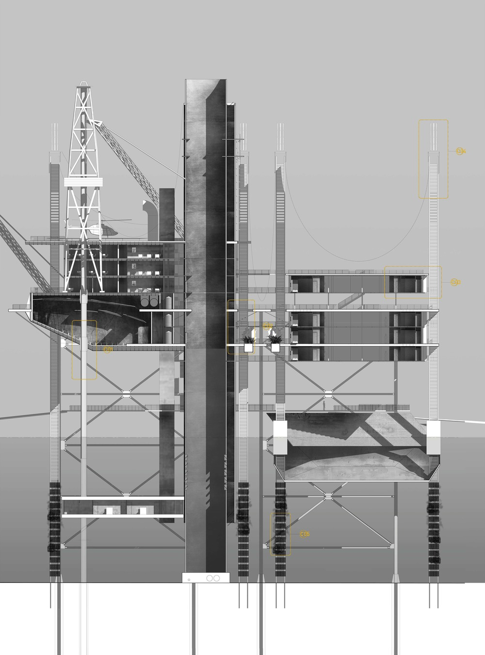 oil rig - section