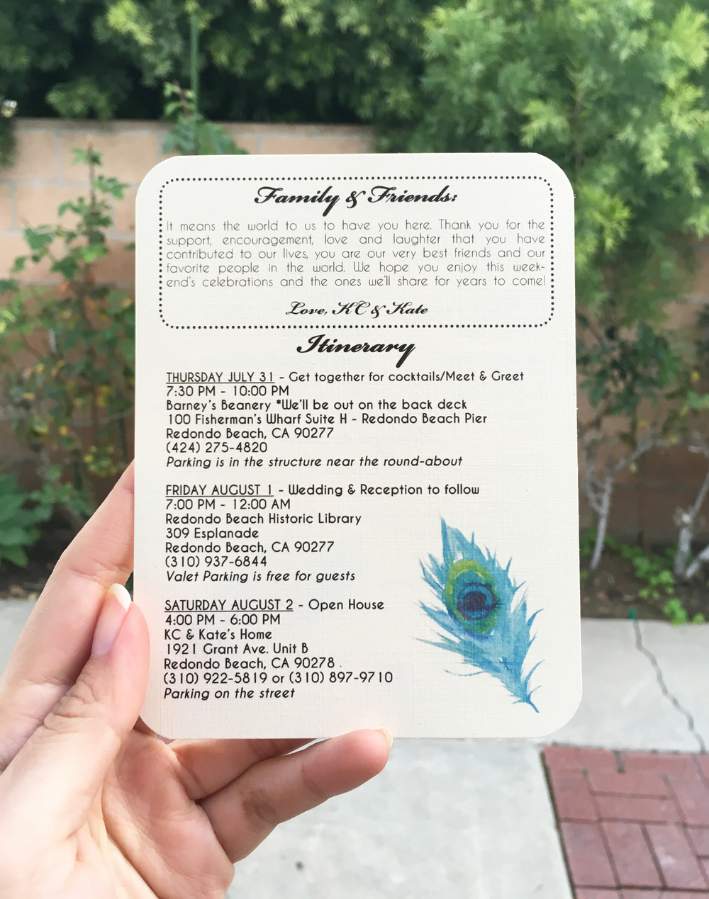 Itinerary Card (Front)