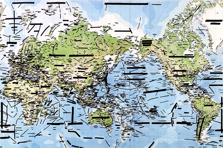 "JARET VADERA No Country , 2014, from the  Pangea Series , black marker on world map, 36"" x 48"""