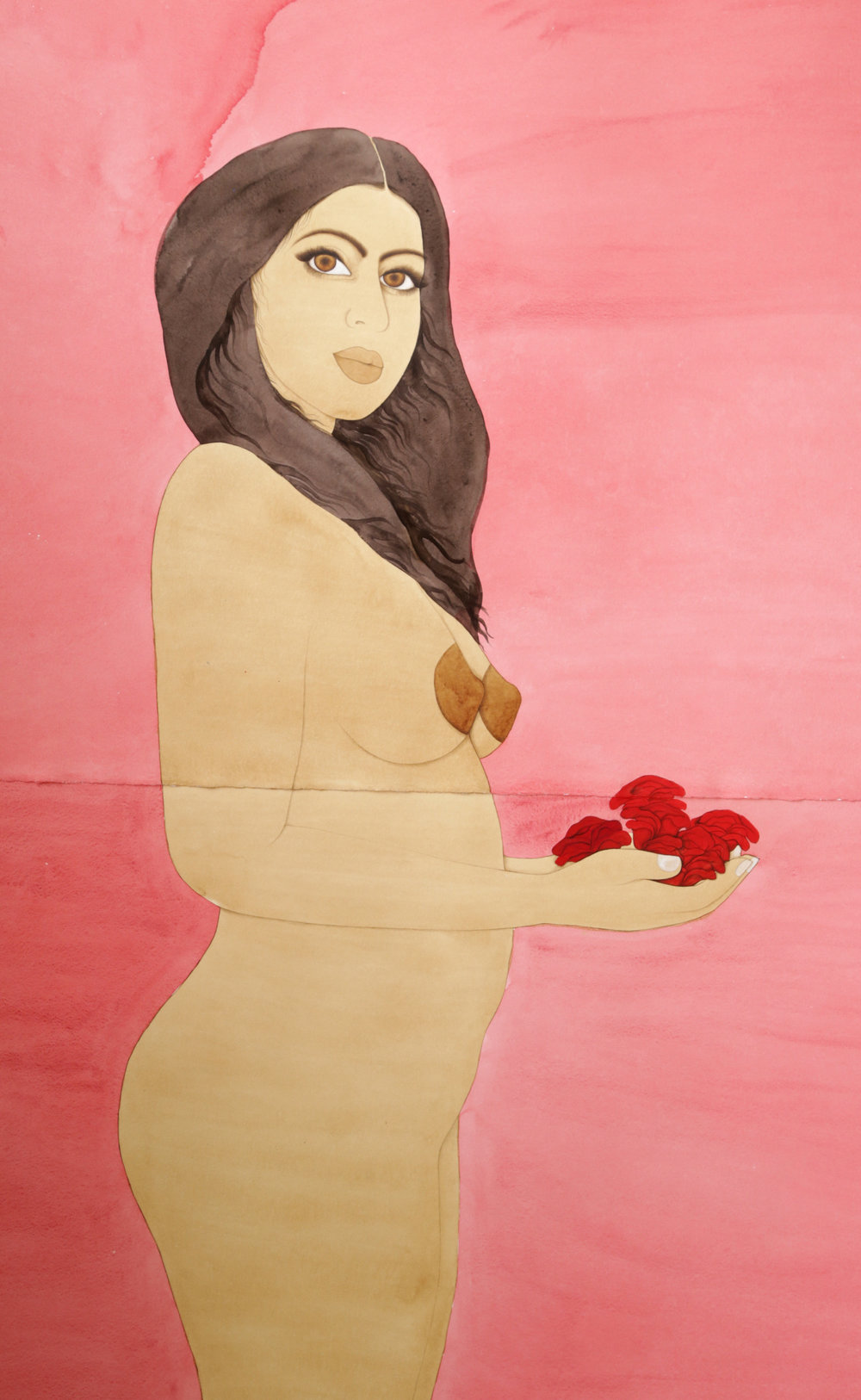 "Hiba Shabbaz Self Portraits with Roses (After Picasso) Detail, 2016 WaterColor, Tea and Pigment on Twinrocker 40"" x 88"""