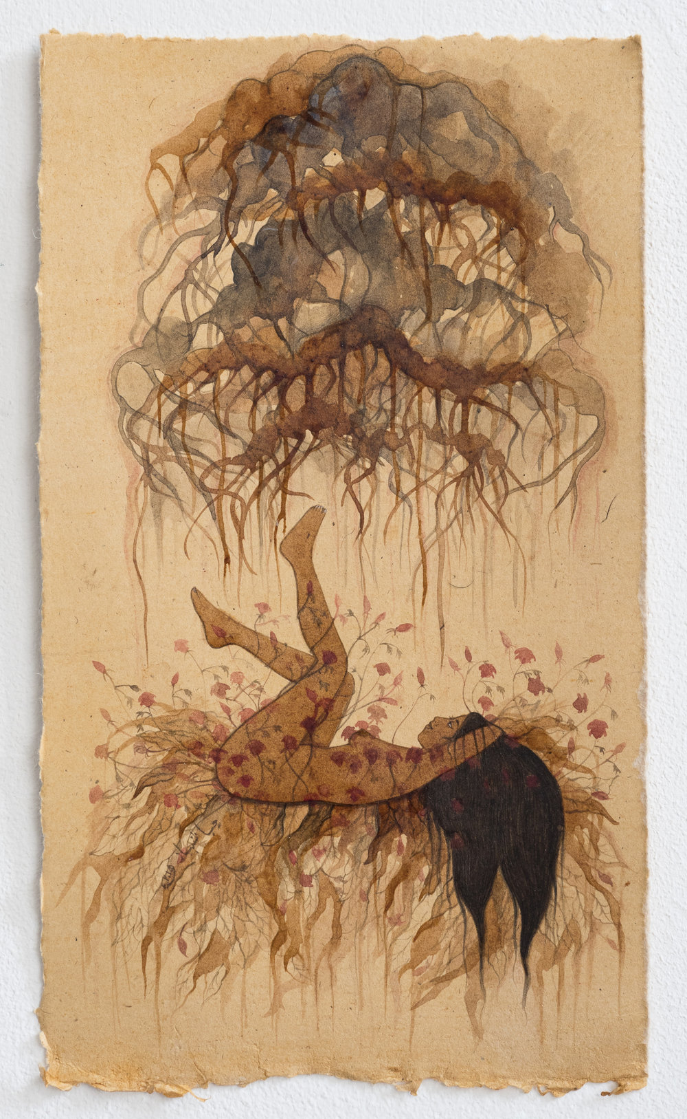 "Hiba Shabbaz  Untitled (Work In Tea)  2015 Tea and WaterColor on Earth Stained Papers 7"" x 11"""