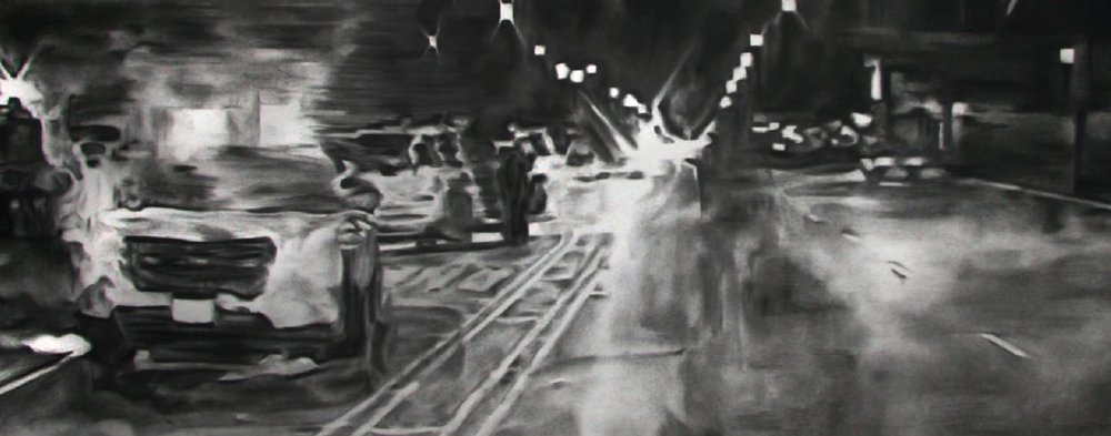 "Shaun Leonardo, Laquan McDonald (drawing 1)- charcoal on paper, each 30""x52"", 2016"
