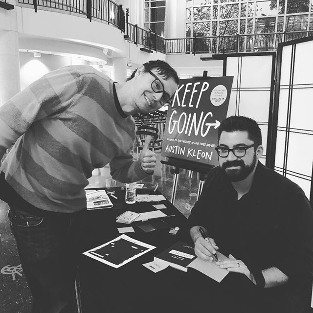 Awesome to meet @austinkleon and hear his talk. His books have really helped me to continue to show up and 'do the work' with my music. ✨✨🤘🙌#austinkleon #steallikeanartist #showyourwork #keepgoing