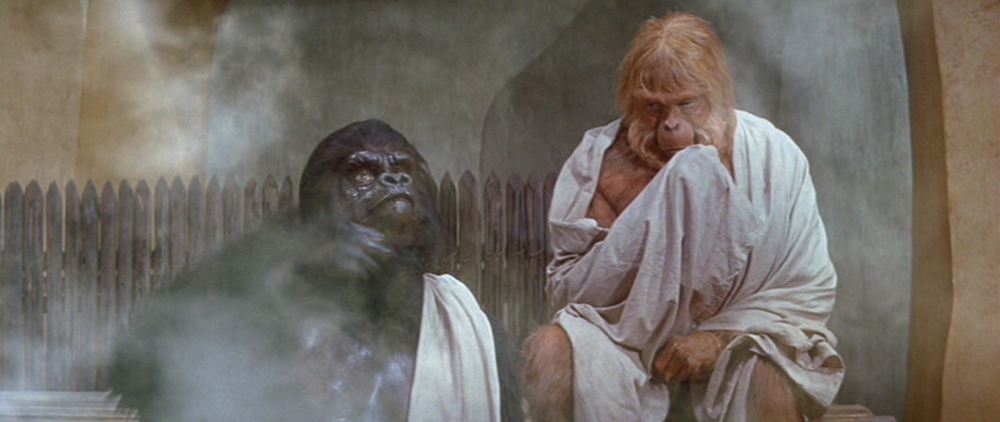 They tried to distract us from the crappy masks by showing us sweaty apes in a sauna. It worked.