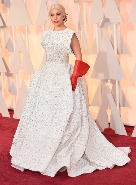 BEST DRESS & ACCESSORY COMBO: Lady Gaga in Alaïa
