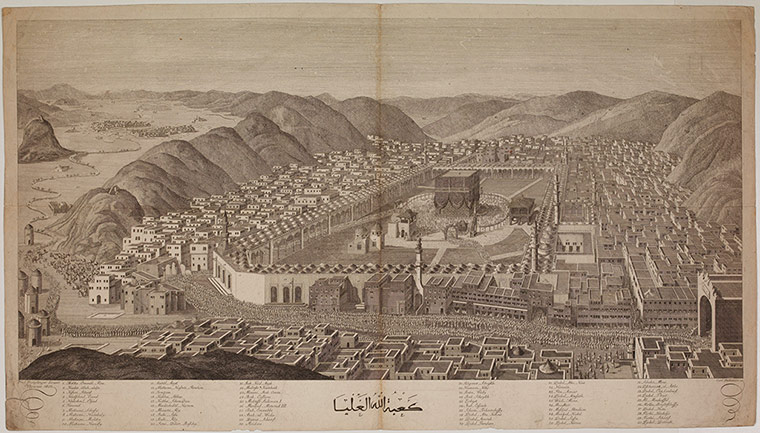 Engraving of Mecca by Carl Ponheimer (1803),  based on an illustration in Mouradgea d'Ohsson's 1787 Tableau Général de l'Empire Ottoman