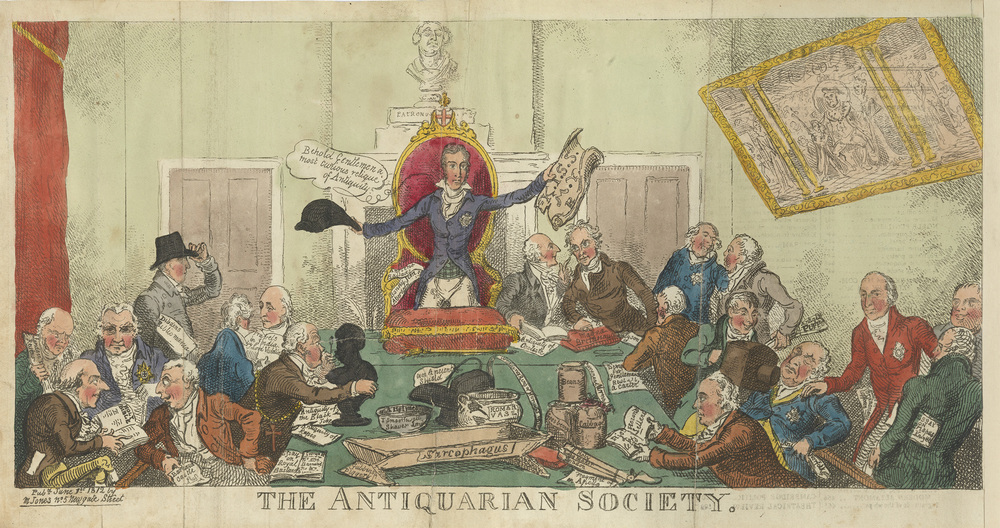 """The Antiquarian Society"" by George Cruikshank (1812) depicts the meeting of a group of London elites brought together over coffee. The group is rowdy, but dressed and composed as intellectuals. (source: The National Trust Collections)"