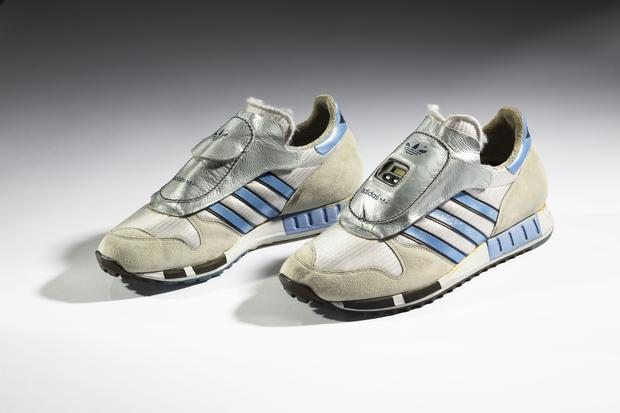 adidas. Micropacer, 1984. Collection of the Bata Shoe Museum, Toronto; Gift of Phillip Nutt. (Photo: Ron Wood. Courtesy American Federation of Arts/Bata Shoe Museum)