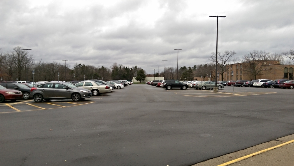 North Campus sights: parking at Baits I Housing.