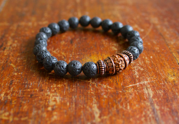 Mala Basalt Lava Rock and Rudraksha ($29, from Artfully Elegant)