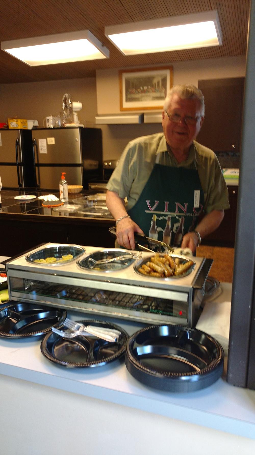 Don Sundene, LMSN's Exec. Director, serving breakfast. Epiphany Lutheran Church 6/4/2016