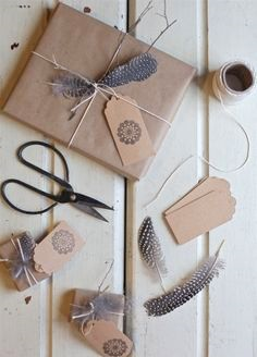 feather gift wrapping